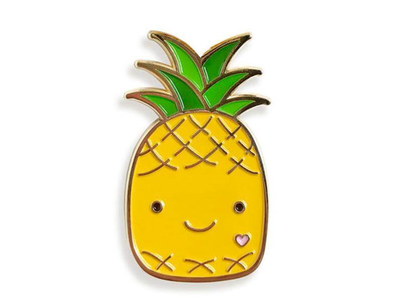 Cute Pineapple Gifts from Etsy featured by top Hawaii blog, Hawaii Travel with Kids: Pineapple Pin Pineapple Lapel Pin Pineapple Enamel Pin image 0