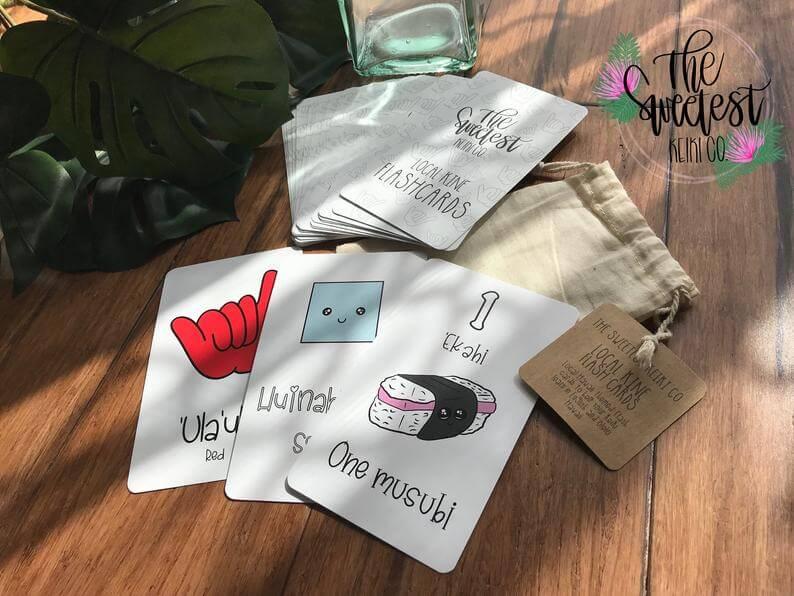 Hawaiian toys and Hawaiian gifts for kids by top Hawaii blogger Hawaii Travel with Kids: Local Kine Flash Cards // Hawaii Themed Flash Cards // Keiki image 0