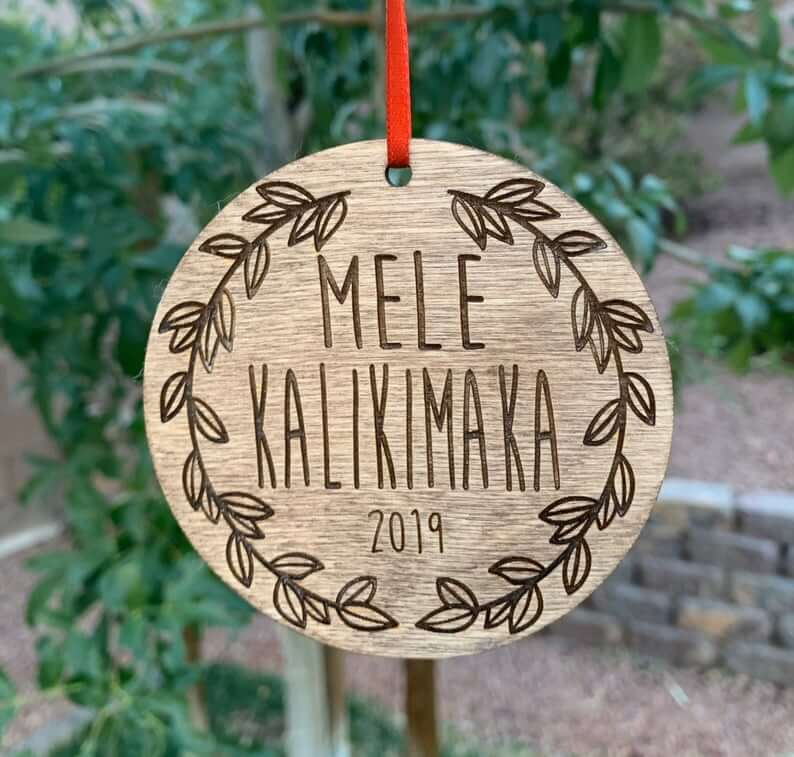 20 Hawaiian Christmas Ornaments featured by top Hawaii blogger, Hawaii Travel with Kids: Mele Kalikimaka Ornament Hawaiian Christmas ornament Hawaii image 0