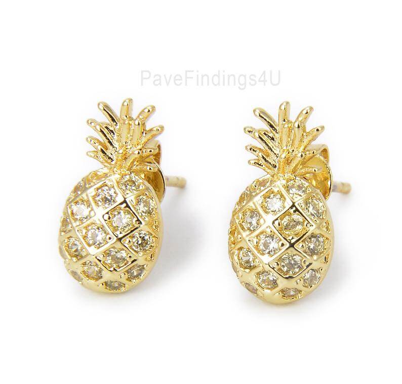 Cute Pineapple Gifts from Etsy featured by top Hawaii blog, Hawaii Travel with Kids: Gold Pineapple Stud Earrings Pineapple Earrings Fruit image 0