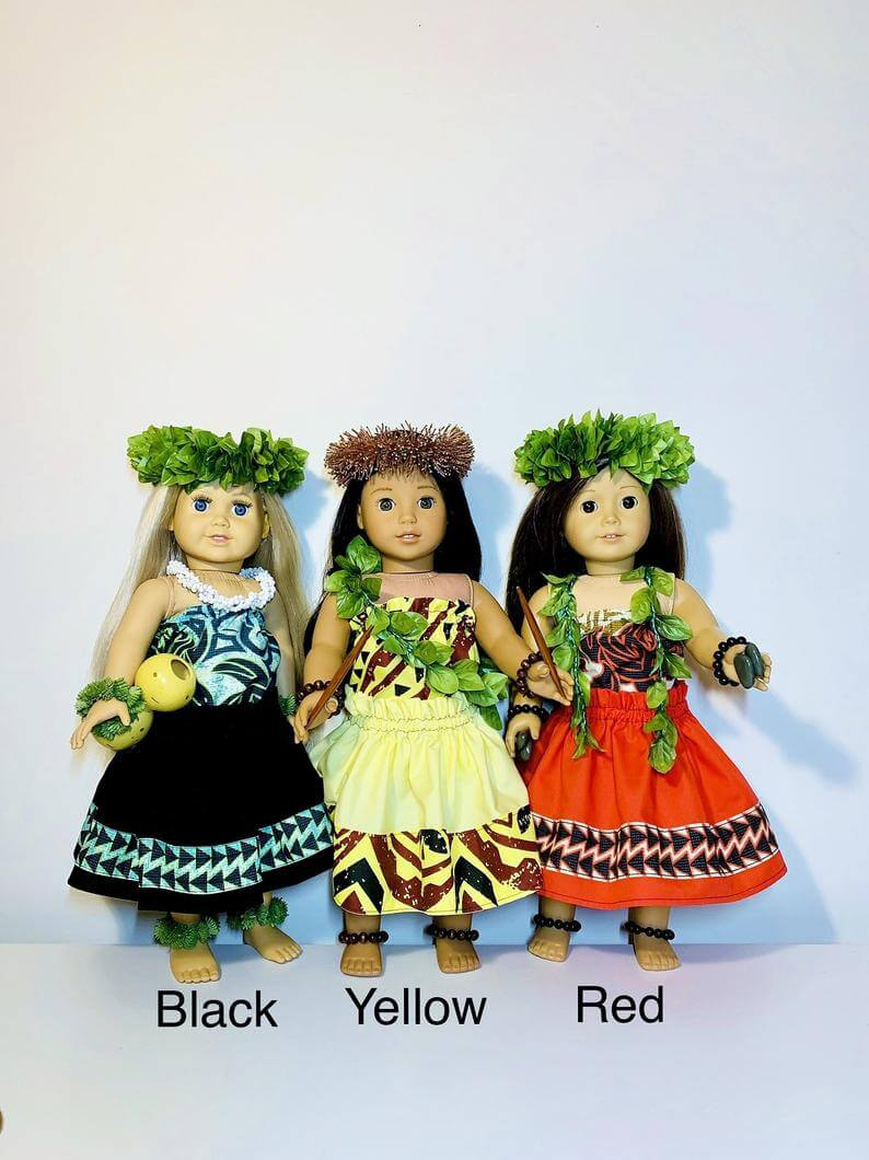 Hawaiian toys and Hawaiian gifts for kids by top Hawaii blogger Hawaii Travel with Kids: Hawaiian Doll Hula Outfits Tribals with bordered skirts image 0