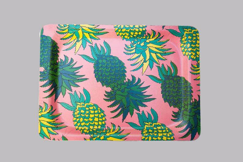 Cute Pineapple Gifts from Etsy featured by top Hawaii blog, Hawaii Travel with Kids: Small Melamine Tray: Pineapples image 0