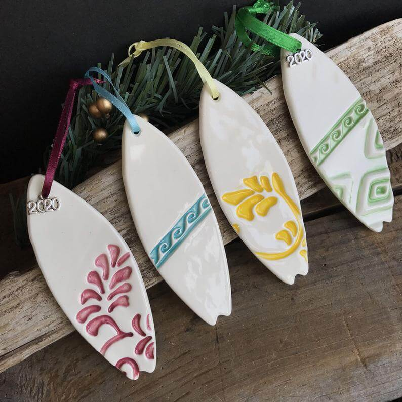 20 Hawaiian Christmas Ornaments featured by top Hawaii blogger, Hawaii Travel with Kids: Personalized Surfboard Ornament Ceramic 2020 Surfer Ornament image 0