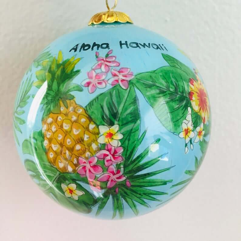 Best Hawaiian Christmas Decorations featured by top Hawaii blogger, Hawaii Travel with Kids: Add some Hawaiian Christmas decorations to your home this holiday season with these top Hawaii Christmas decorations ideas from top Hawaii blog Hawaii Travel with Kids. Image of Hawaiian Hand Painted Hawaii Pineapple and Tropical Island