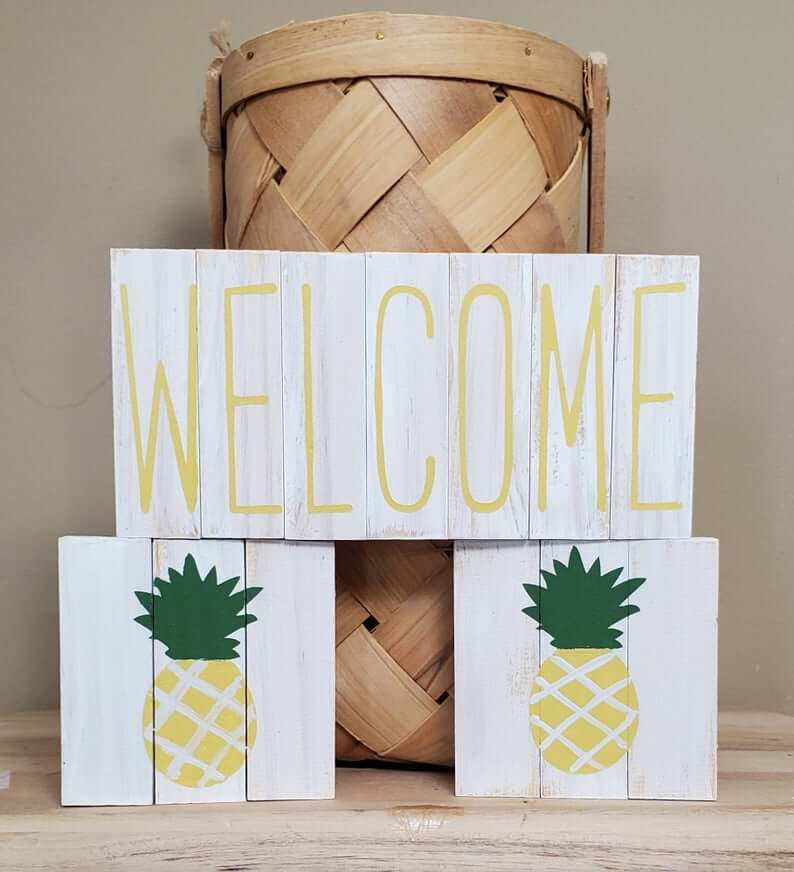 Cute Pineapple Gifts from Etsy featured by top Hawaii blog, Hawaii Travel with Kids: Pineapple Signs Pineapple Tiered Tray Decor Pineapple Gift image 0
