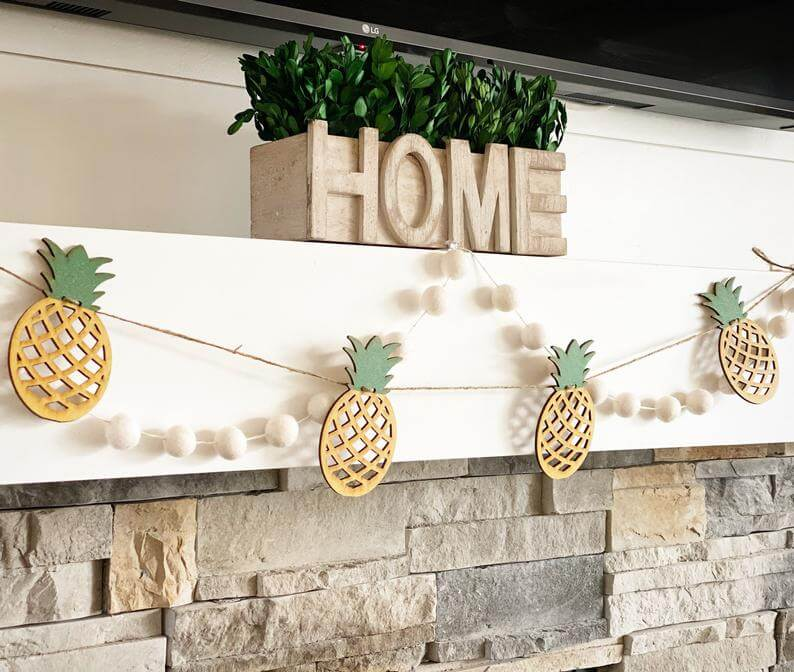 Cute Pineapple Gifts from Etsy featured by top Hawaii blog, Hawaii Travel with Kids: Pineapple garland pineapple banner pineapple decor summer image 0