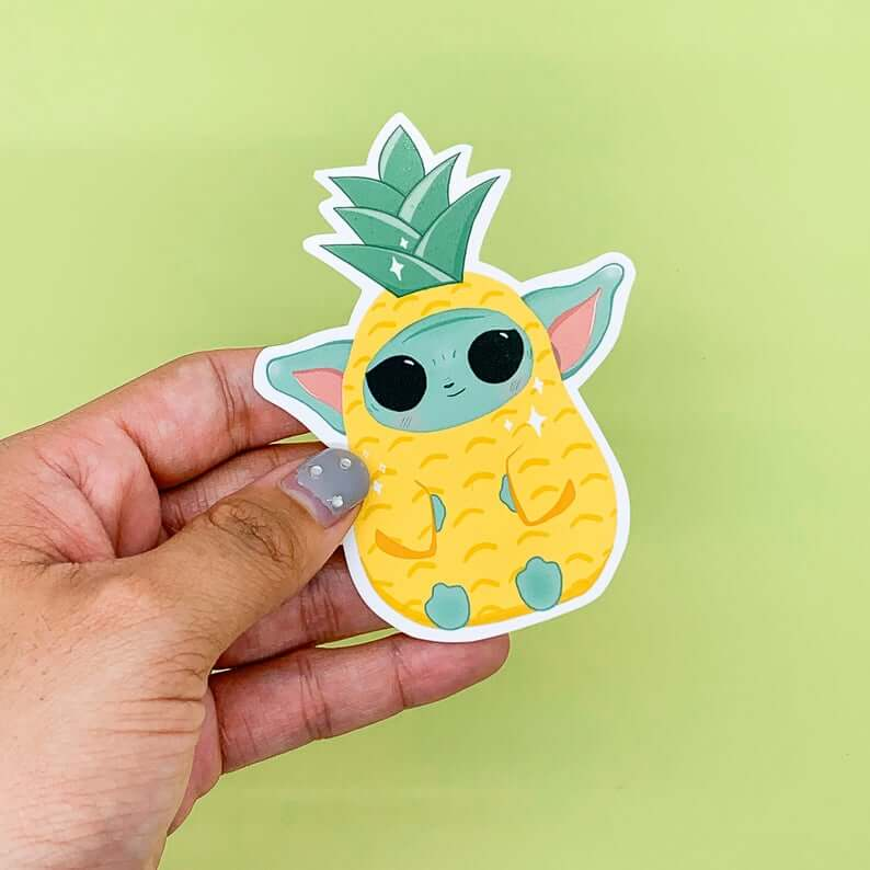 Cute Pineapple Gifts from Etsy featured by top Hawaii blog, Hawaii Travel with Kids: Baby Yoda Pineapple Sticker Die cut sticker hydroflask image 0