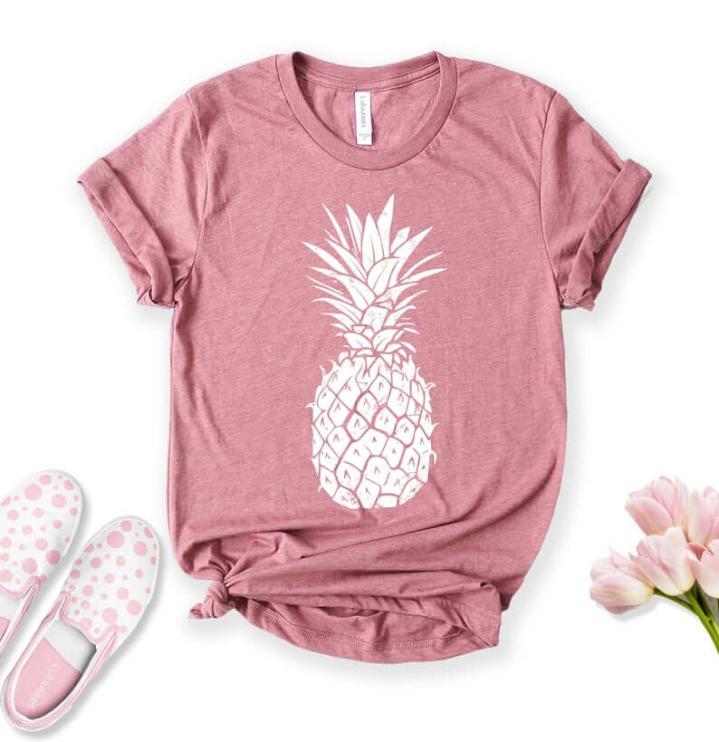 Cute Pineapple Gifts from Etsy featured by top Hawaii blog, Hawaii Travel with Kids: Pineapple Shirt Shirts for Women Graphic Tees Foodie Shirt image 0