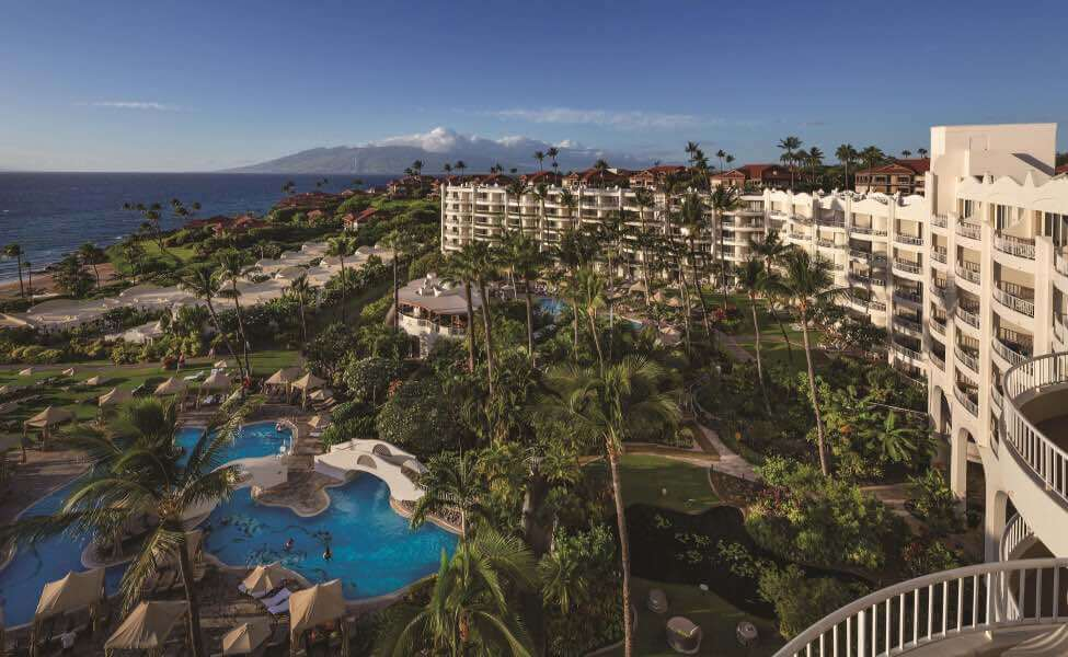 Top 5 Best Maui Luxury Hotels featured by top Hawaii blogger, Hawaii Travel with Kids: The Fairmont Kea Lani is one of the best Maui luxury hotels. Image of an aerial shot of the Maui resort
