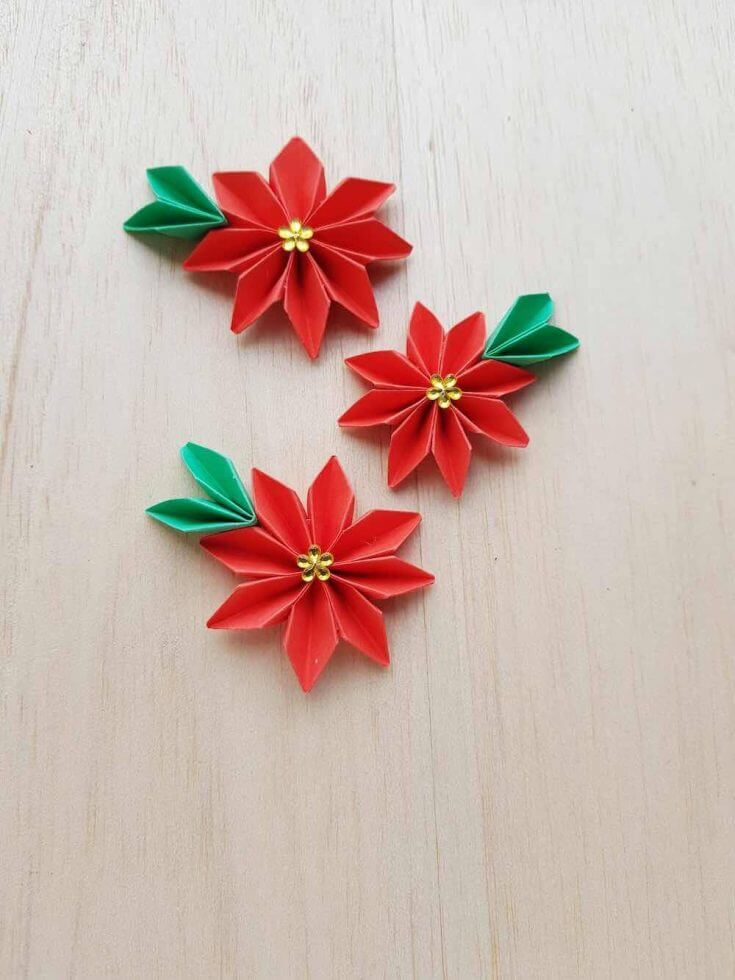 How to make a paper poinsettia origami craft