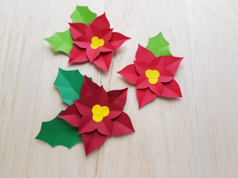 How to Make a Paper Poinsettia Craft, a tutorial featured by top Hawaii blog, Hawaii Travel with Kids.