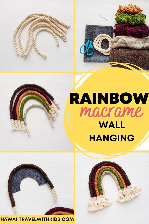 How to Make a Macrame Rainbow Wall Hanging, a DIY Hawaiian decoration featured by top Hawaii blogger, Hawaii Travel with Kids.