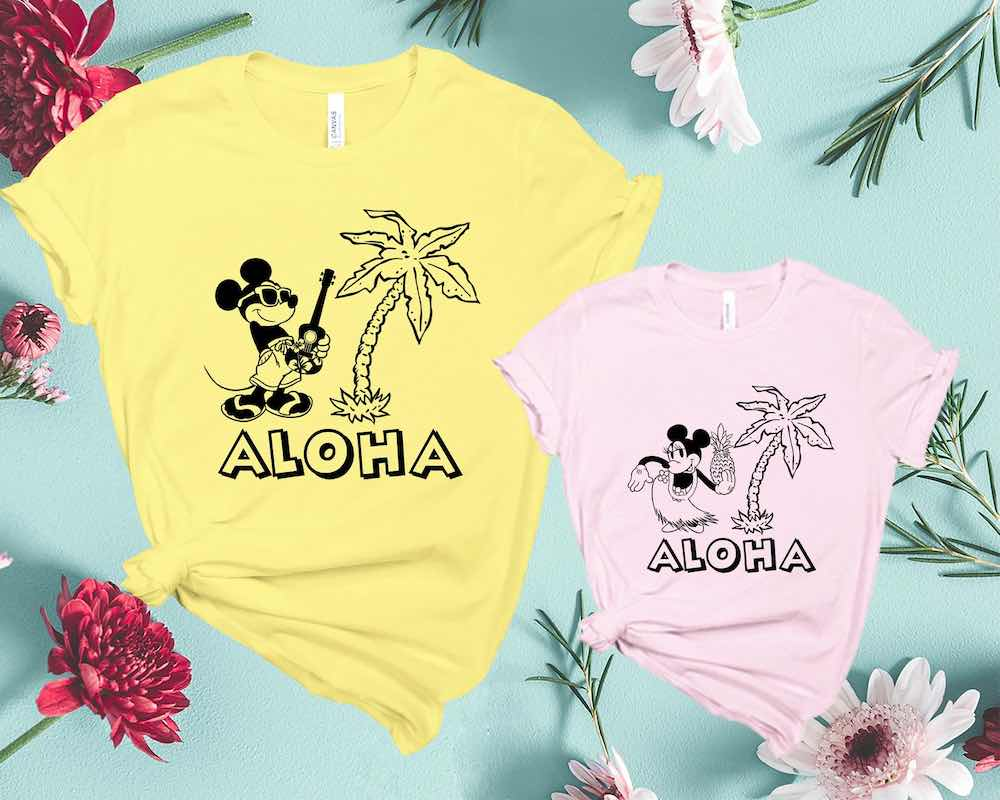 Find out the cutest Disney Aulani t-shirts to buy before your trip to Disney's Aulani Resort in Hawaii by top Hawaii blog Hawaii Travel with Kids. How cute are these Mickey and Minnie Disney Aloha shirts?