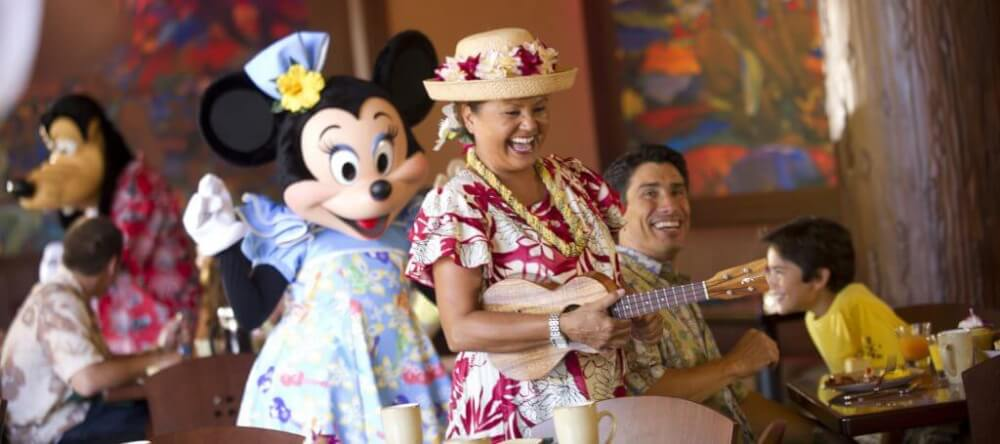 Aulani tips and Disney Aulani Resort review featured by top Hawaii blog, Hawaii Travel with Kids| . Aulani Character Breakfast includes entertainment, characters and and the opportunity to take photos with Mickey Mouse.