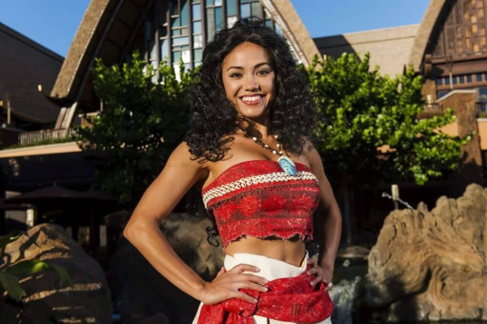 Aulani tips and Disney Aulani Resort review featured by top Hawaii blog, Hawaii Travel with Kids: image of Moana character meet and greet at Disney Aulani
