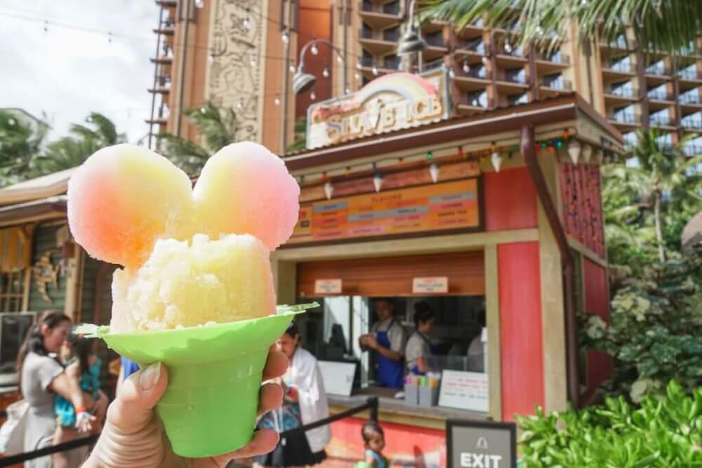 Aulani tips and Disney Aulani Resort review featured by top Hawaii blog, Hawaii Travel with Kids: Photo of Mickey shave ice at Aulani Resort on Oahu, Hawaii #aulani #shaveice #oahu