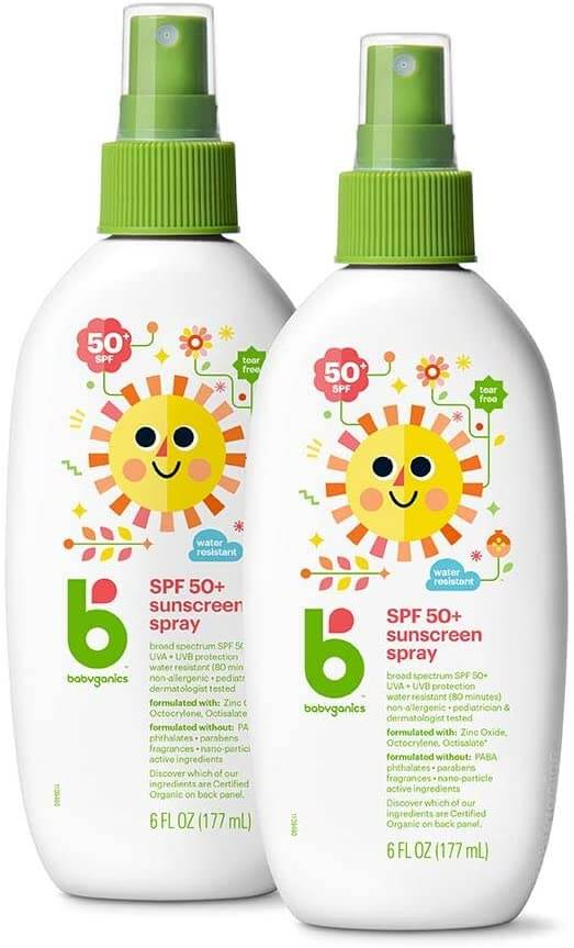 Reef Safe Sunscreen is the only sunscreen allowed in Hawaii, so be sure to add it to your Hawaii packing list! Image of Babyganics sunscreen spray.
