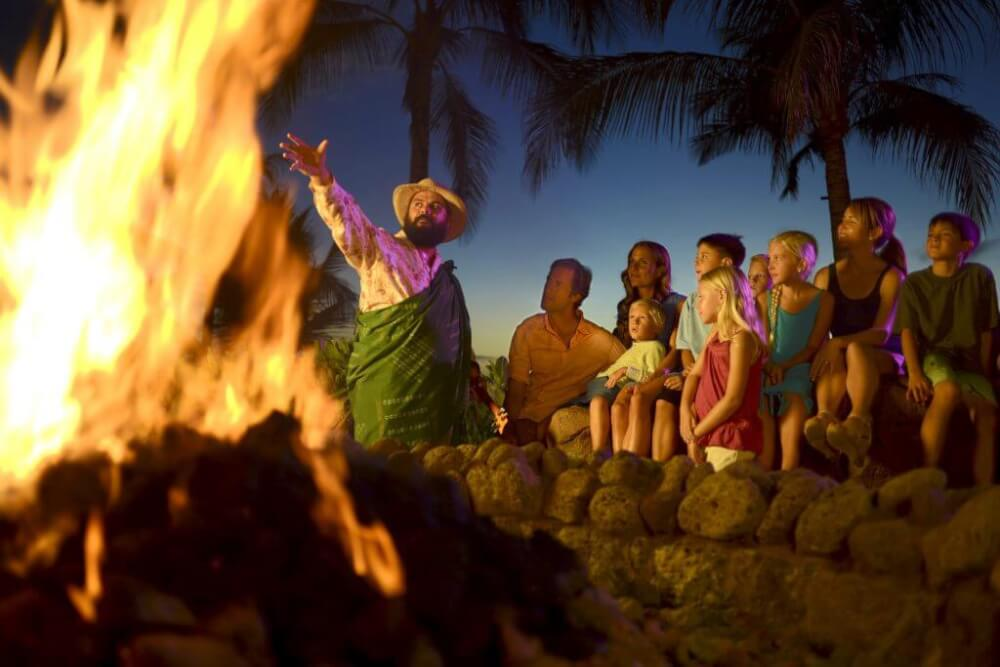 Aulani tips and Disney Aulani Resort review featured by top Hawaii blog, Hawaii Travel with Kids: Photo of the Mo`olelo Fire Pit Storytelling at Disney Aulani Resort on Oahu #aulani #oahu