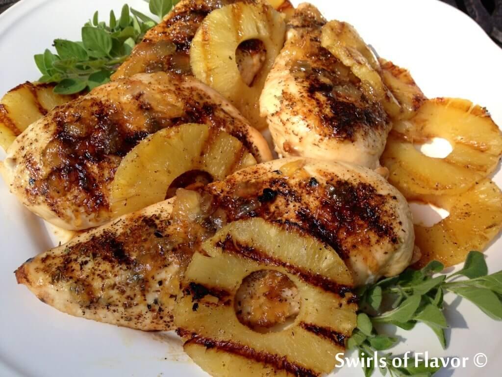 Grilled pineapple rum glazed chicken breasts