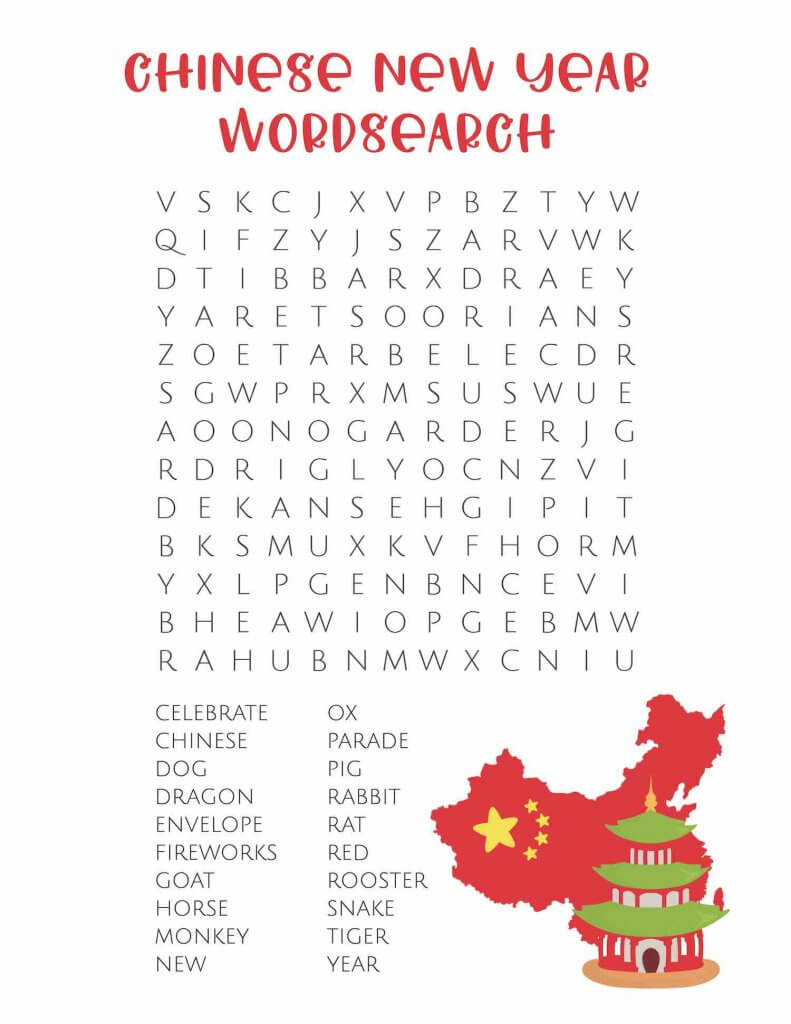 Print out this Chinese zodiac word search that's a great Chinese New Year word search for kids. Image of a word search for kids.