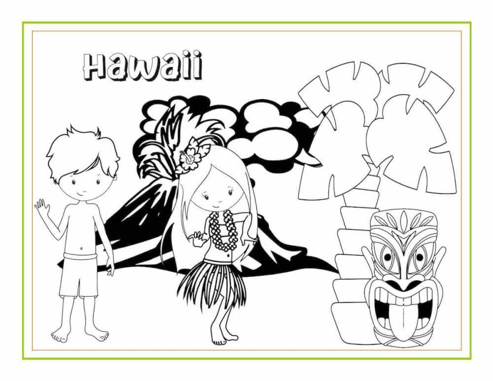 Download free printable Hawaiian coloring sheets and activity pages from top Hawaii blog Hawaii Travel with Kids. Image of a Hawaiian coloring page