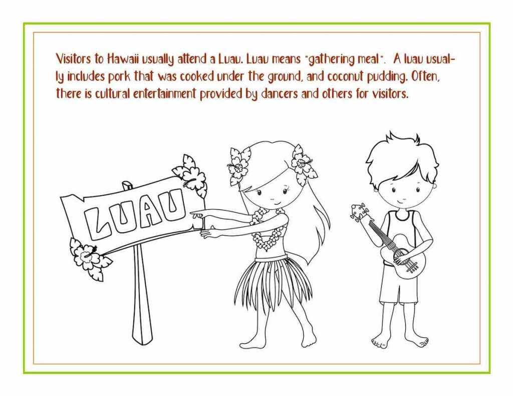 Download these free Hawaiian coloring pages from top Hawaii blog Hawaii Travel with Kids. Image of a Hawaii luau coloring sheet.