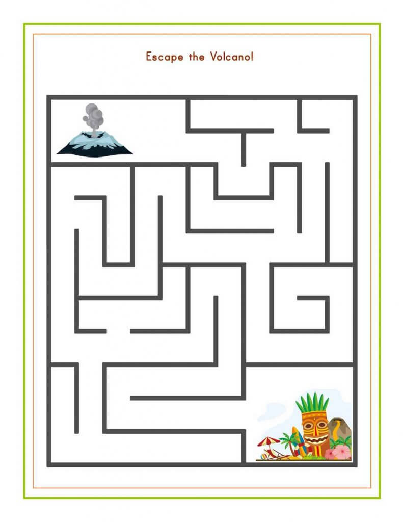 Download these free Hawaiian worksheets for kids from top Hawaii blog Hawaii Travel with Kids. Image of a Hawaii maze.