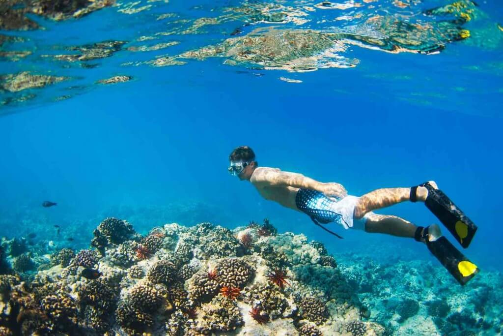 Find out the best snorkeling in Hawaii tips by top Hawaii blog Hawaii Travel with Kids. Image of Young Man Snorkeling Underwater over Tropical Reef in Hawaii