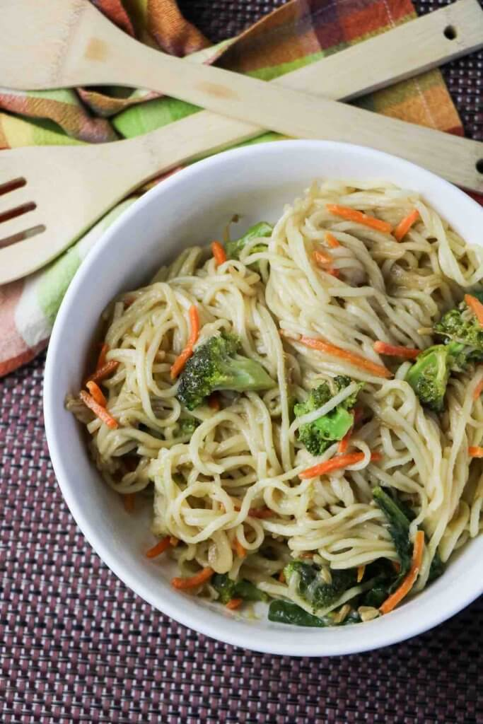 Learn how to make this veggie lo mein recipe that's perfect for Chinese New Year. Image of vegetable lo mein noodles.