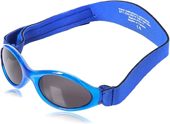 Image of blue sunglasses for babies with a band.