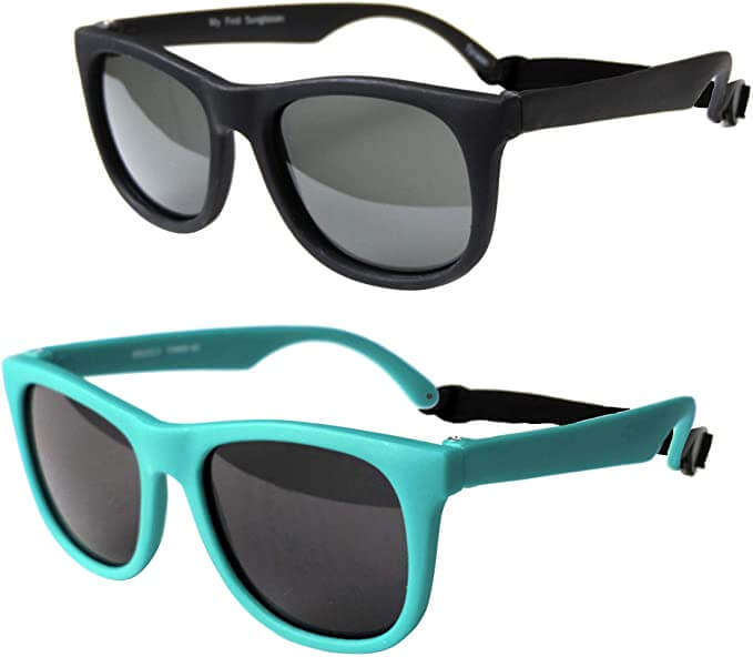 Keep your baby's eyes protected with baby sunglasses. Image of a pair of black sunglasses and a pair of teal sunglasses for babies.