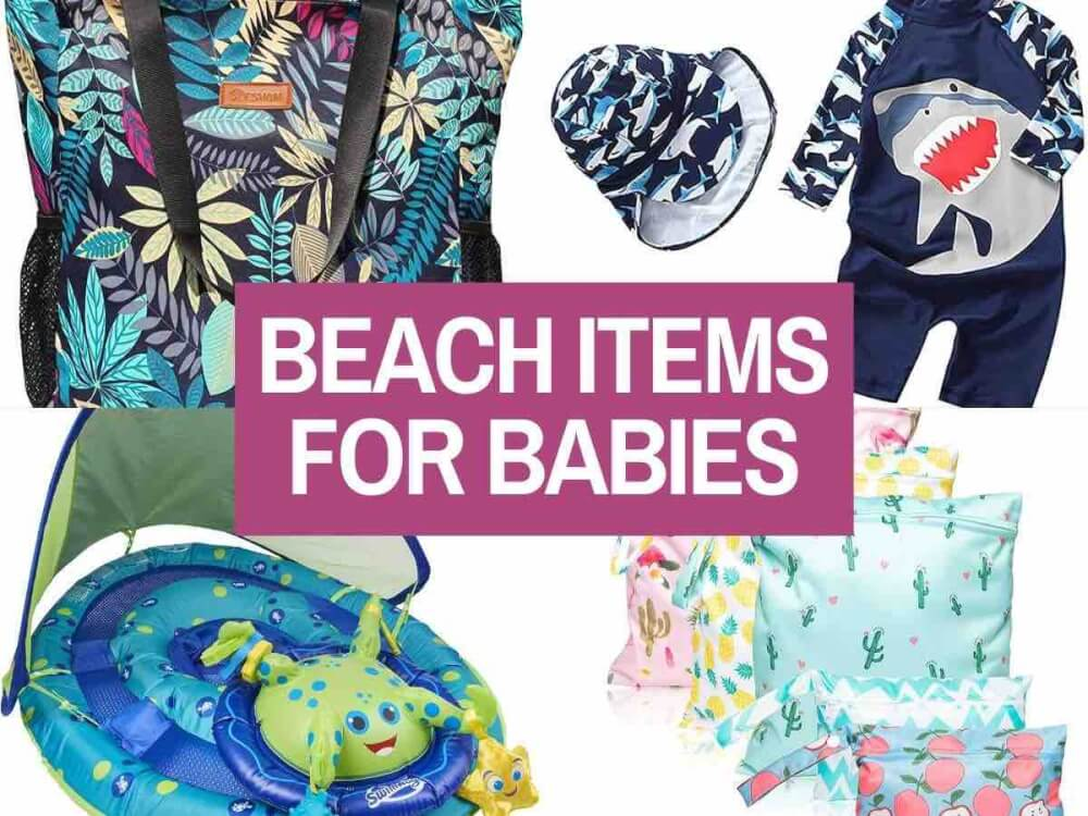 Find out the top beach essentials for babies by top Hawaii blog Hawaii Travel with Kids. Collage image of a tropical beach bag, pool floatie, shark rash guard, and tropical print wet bags