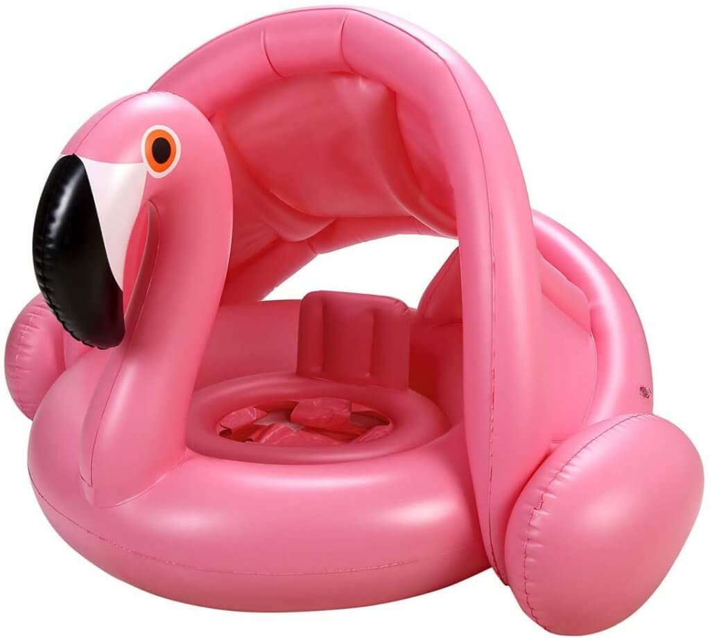 How cute is this bright pink flamingo pool float for babies?