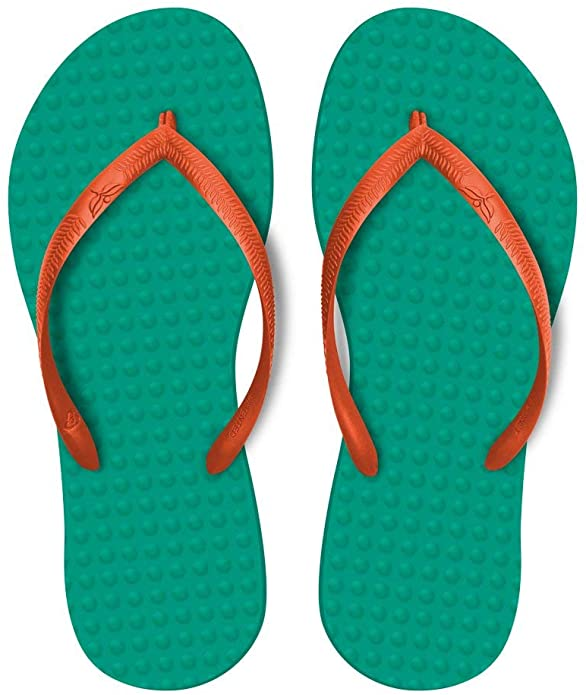Help save the planet by adding these eco friendly flip flops to your Hawaii packing list. Image of green and orange flip flops.