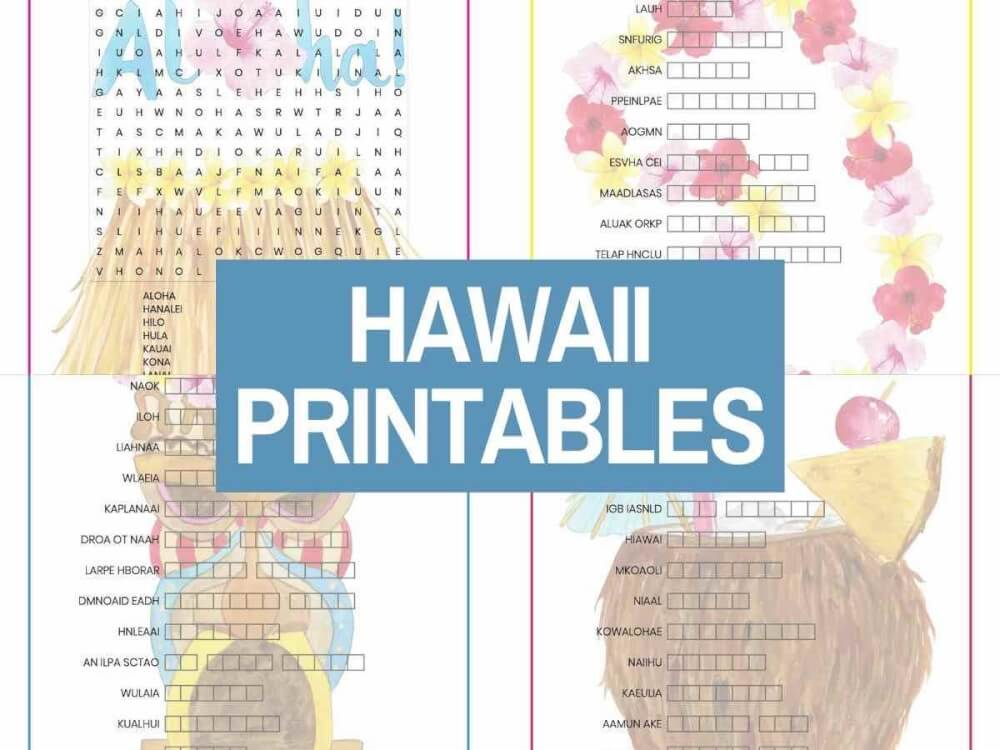 Get these free Hawaii word search and word scramble printables from top Hawaii blog Hawaii Travel with Kids. Image of 4 Hawaiian worksheets.