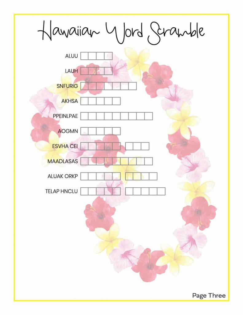 Get this printable Hawaii word scramble by top Hawaii blog Hawaii Travel with Kids. Image of a Hawaiian word scramble with a lei in the background.