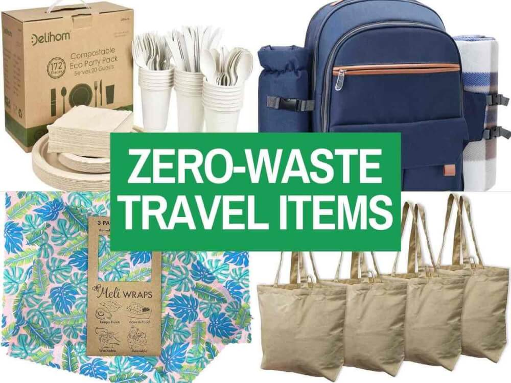 Find out the best Hawaii zero waste travel essentials worth packing by top Hawaii blog Hawaii Travel with Kids. Collage image of beeswax food wrap, reusable shopping bags, a picnic backpack, and compostable dinnerware