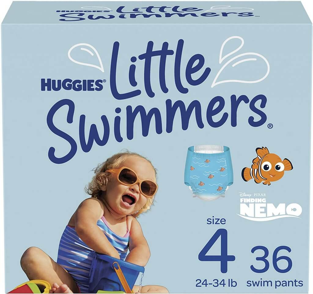 Image of Huggies Little Swimmers disposable swim diapers for babies.