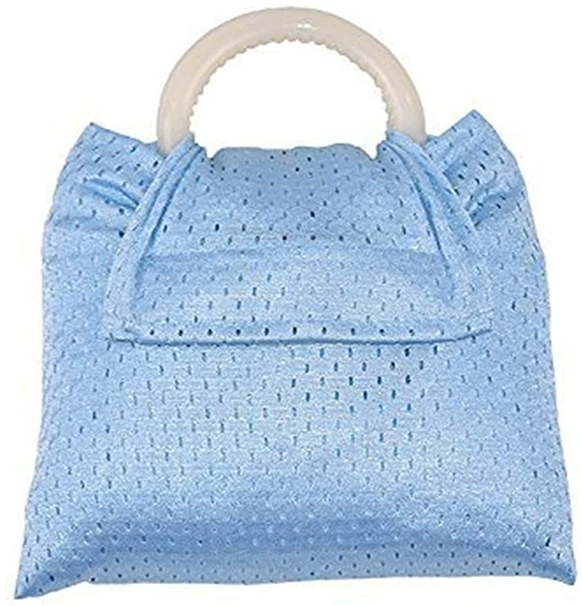 A water ring sling is an infant beach gear people often forget to pack. Image of a light blue mesh ring sling that is folded up.