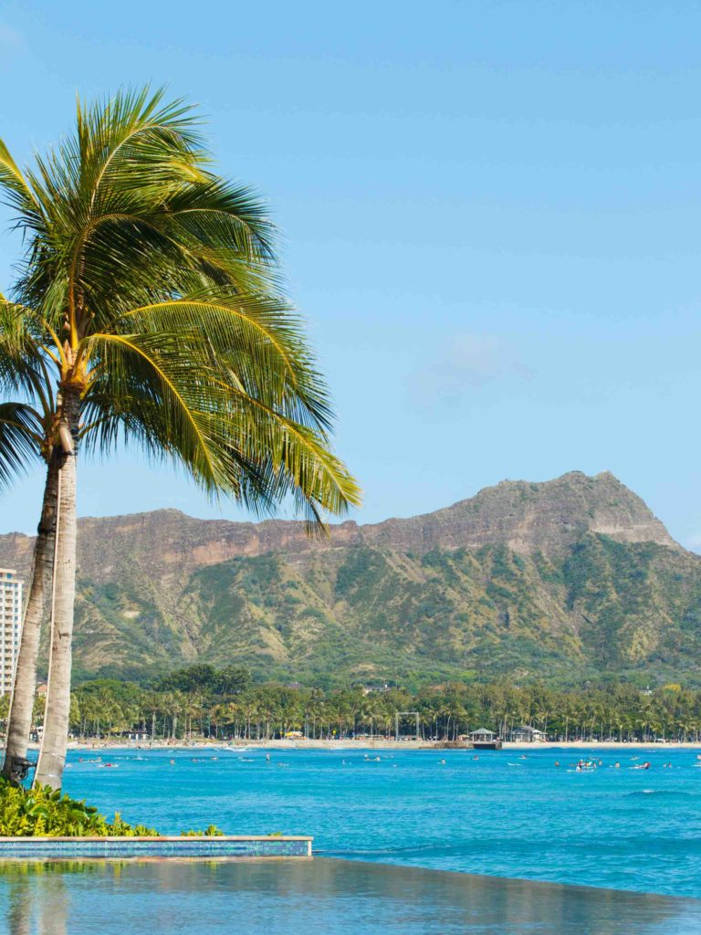 Find out fun things to do in Oahu  by top Hawaii blog Hawaii Travel with Kids. Image of Diamond Head in Waikiki, Oahu.