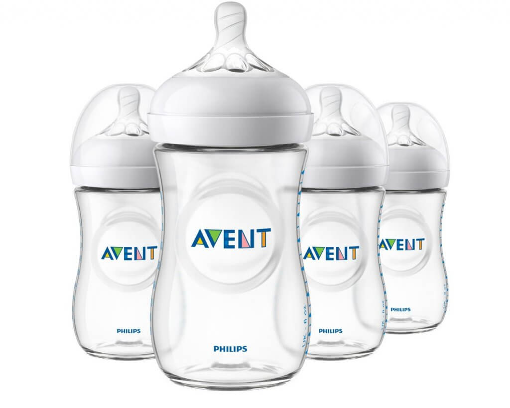Image of 4 Philip Avent baby bottles.