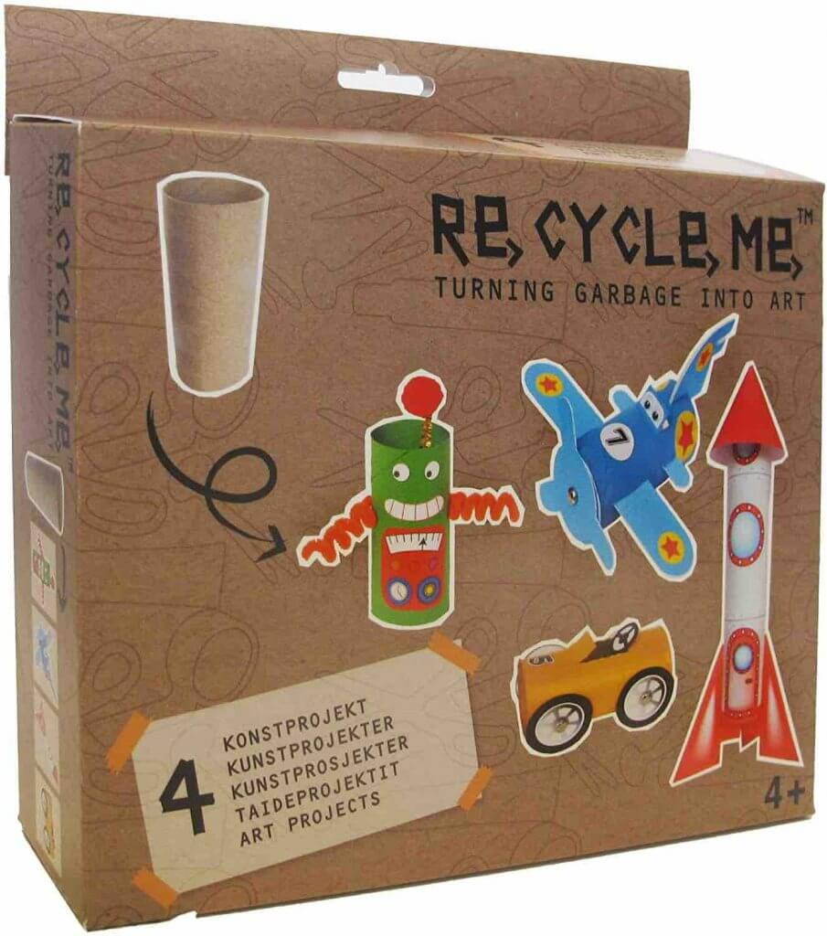 These recycled craft kits are a fun, zero waste essential for kids. Image of a ReCycleMe craft kit for kids.