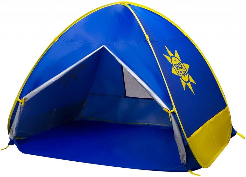 You'll want to pack beach shelters for babies in Hawaii. Image of a blue and yellow pop up beach tent.