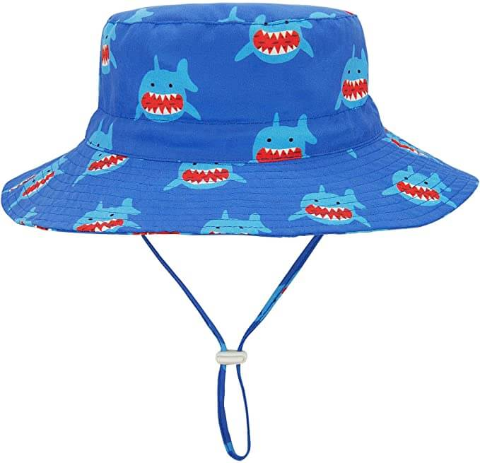 And SPF sun hat is one of the best Hawaii baby beach items to pack. Image of a shark print bucket hat for babies.