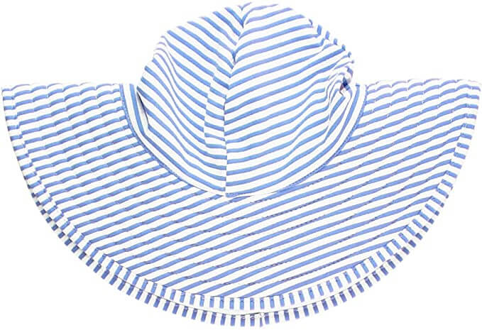 Having a decent sun hat is one of the most important beach items for baby in Hawaii. Image of a striped sun hat.