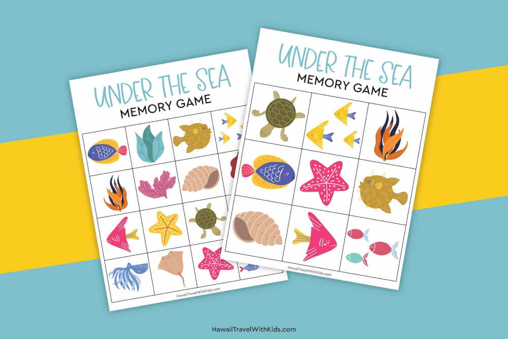 Get this free Under the Sea Memory Matching Game Printable by top Hawaii blog Hawaii. Image of a sea creature matching game for kids.