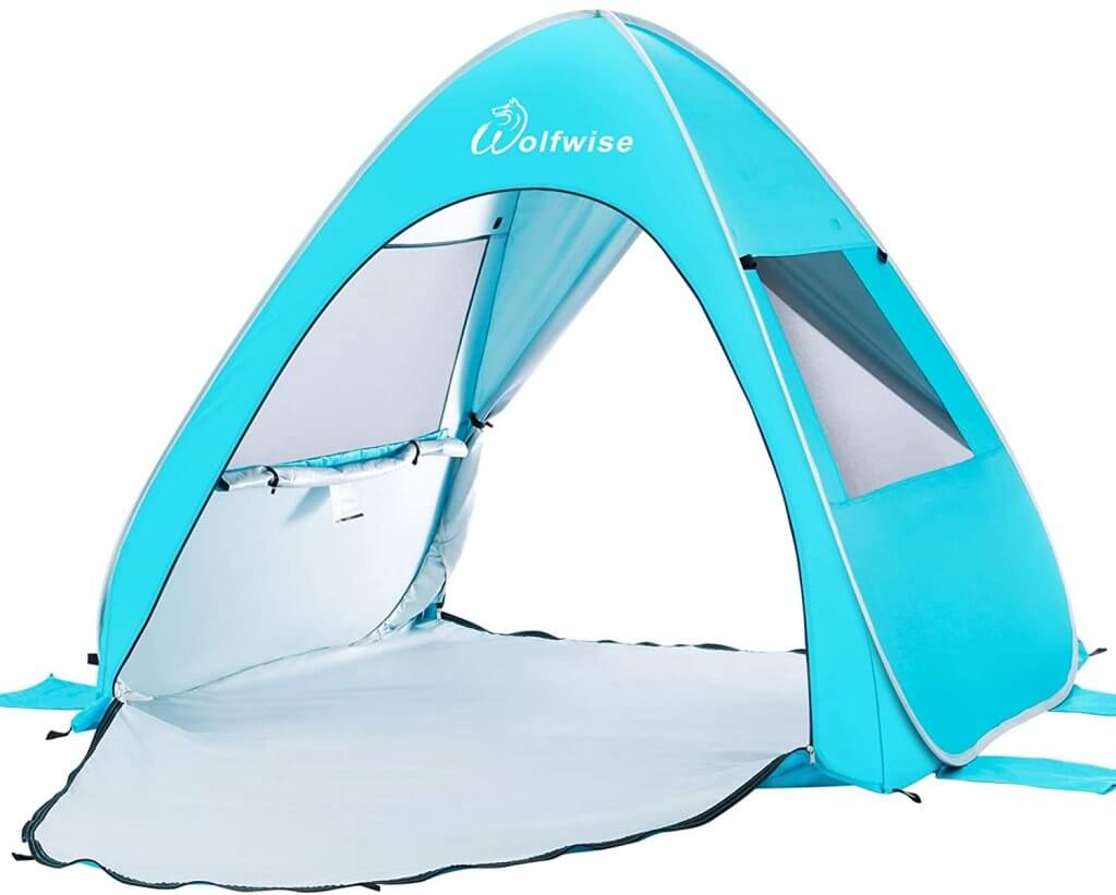 A pop up sun tent is one of the best baby beach accessories to bring to Hawaii. Image of a blue sun tent.