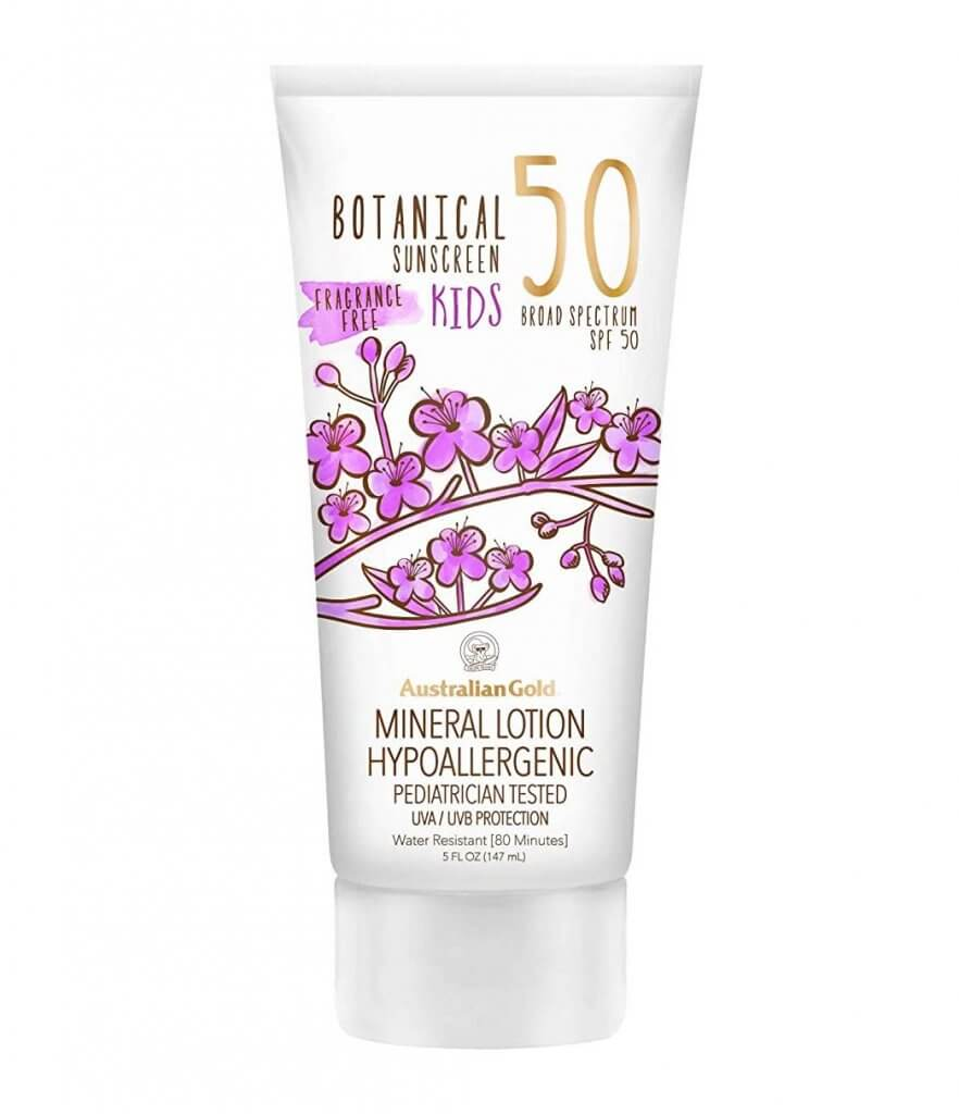 Make sure to add reef safe sunscreen  to your Maui packing list. Image of Australian Gold mineral sunscreen.