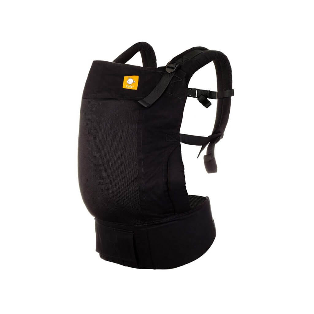 The Tula Coast is the best baby carrier for hot weather like Hawaii. Image of a black Baby Tula standard coast mesh baby carrier.