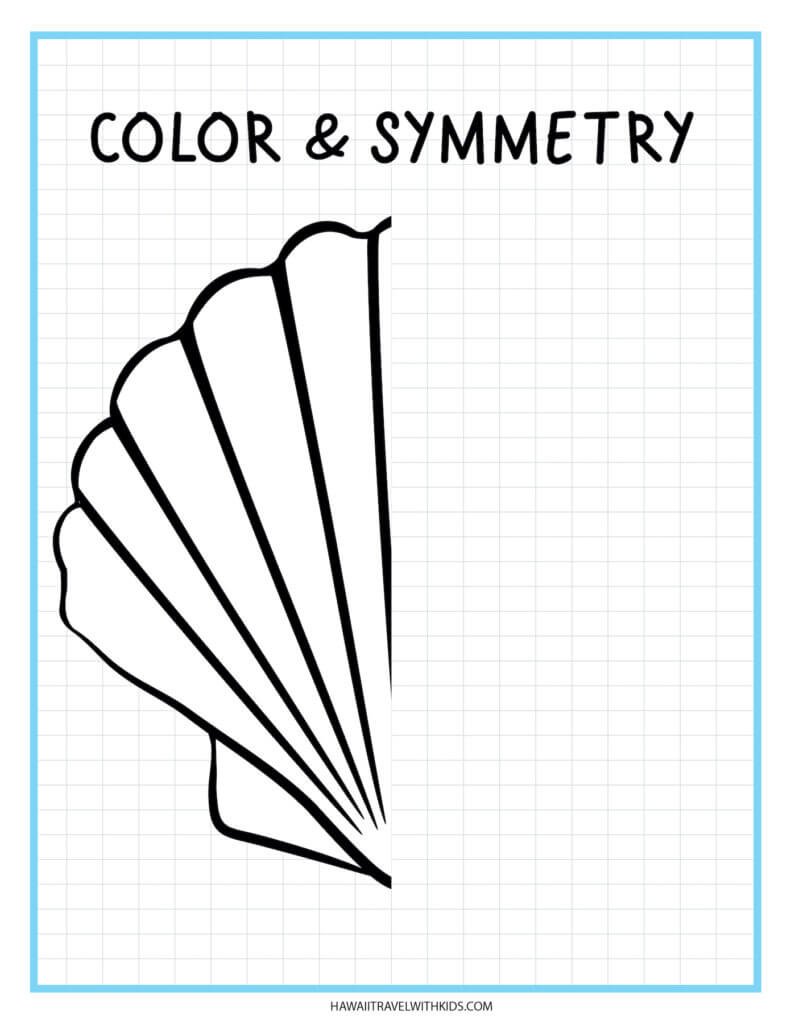 Learn how to draw a shell with this beach worksheet for kids. Image of half a drawn shell.